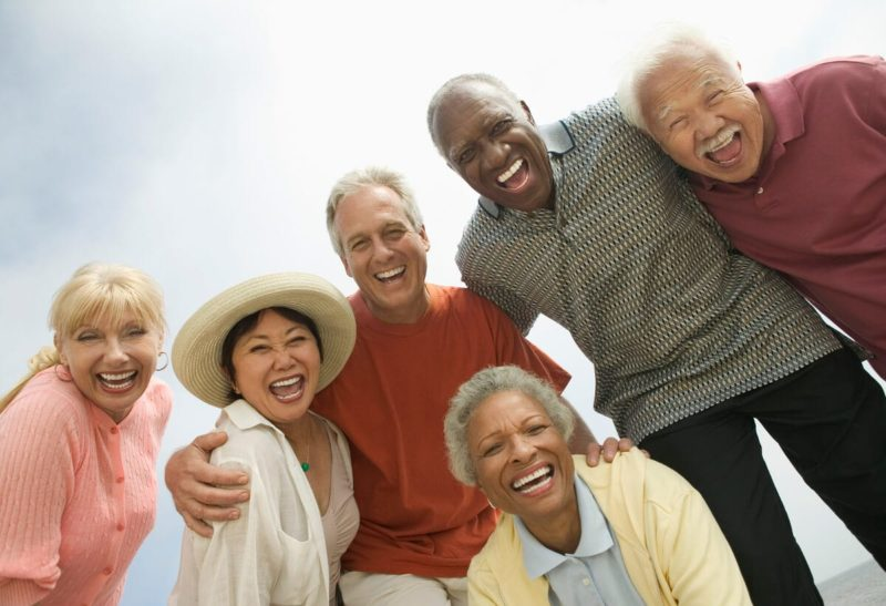 Group of seniors traveling the world
