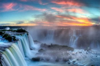 Sunset over iguacu Falls in Brazil
