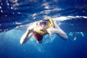 Snorkeling with thumbs up