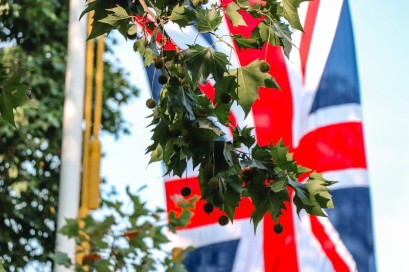Life for expats in the UK: A British flag flies in the background with green leaves in the forground