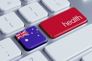 Keyboard with picture of Australia and Health