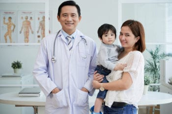 Doctor and patients in Vietnam