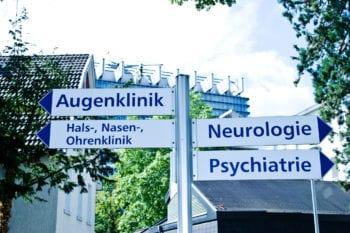 German Hospital sign in the German language
