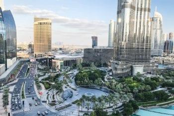 Dubai's healthcare system: Burj Vista and city skyline on a sunny day