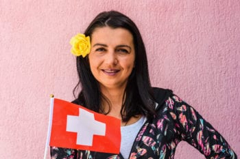 Expat from Switzerland with Swiss flag