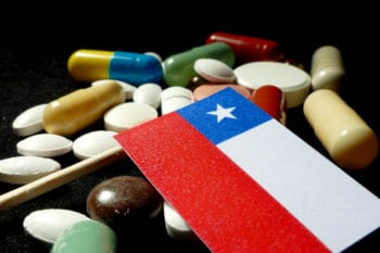 Chilean flag with pills